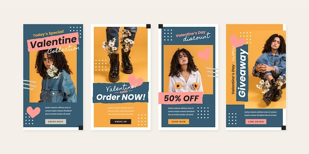 Modern valentine's day sale story pack Free Vector