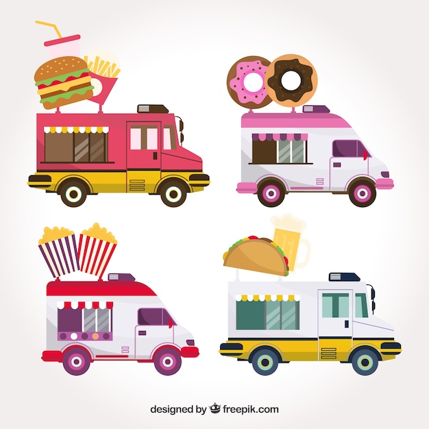 Modern variety of colorful food truck