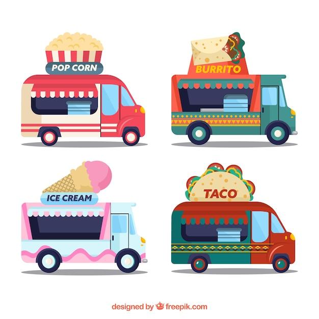 Modern variety of flat food trucks
