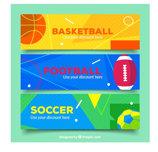 Modern variety of sport banners in flat design