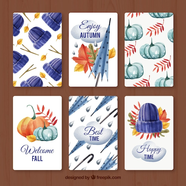 Modern variety of watercolor autumn cards