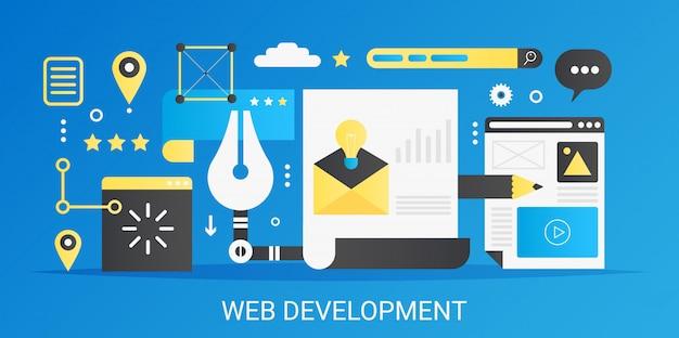 現代ベクトルフラットグラデーションweb開発コンセプトテンプレートバナーアイコンとテキスト。 Premiumベクター