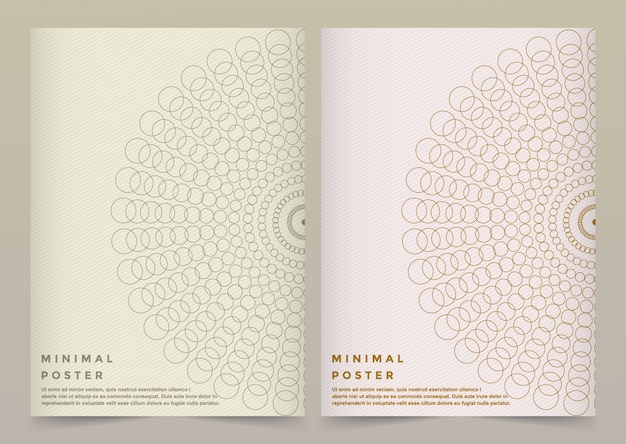 Modern vector template for brochure, leaflet, flyer, cover, banner, catalog, magazine, or annual report in a4 size. futuristic science and technology design. golden presentation with mandala. Premium Vector