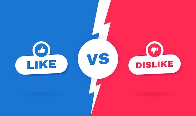 현대 대 전투 배경. 소셜 미디어의 개념. 좋아요 또는 싫어요 사이의 경쟁. 삽화. 프리미엄 벡터