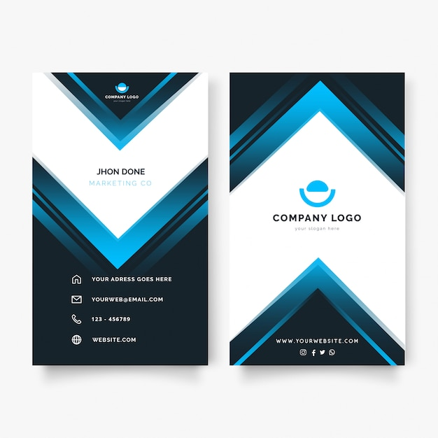 Modern vertical business card with blue shapes Free Vector