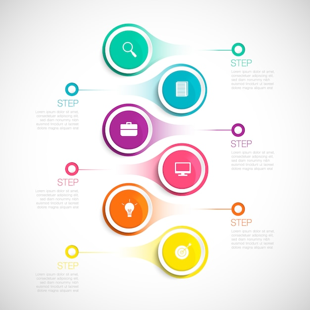 モダンな垂直インフォグラフィック、ビジネス、スタートアップ、教育、ステップ、オプションのタイムラインの図 Premiumベクター