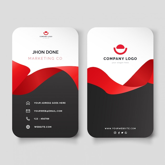 Modern vertical visit card with red ribbon Free Vector