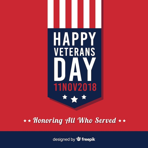 Modern veteran's day composition with flt design Free Vector