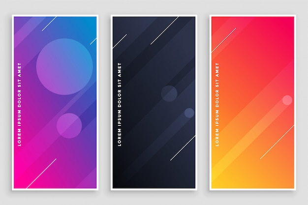 Modern vibrant banners set Free Vector