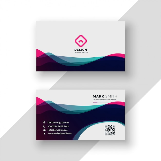 Modern vibrant business card template Free Vector