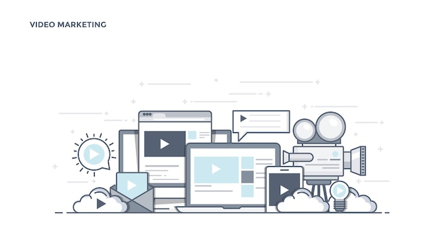 最新のビデオマーケティングコンポーネント Premiumベクター