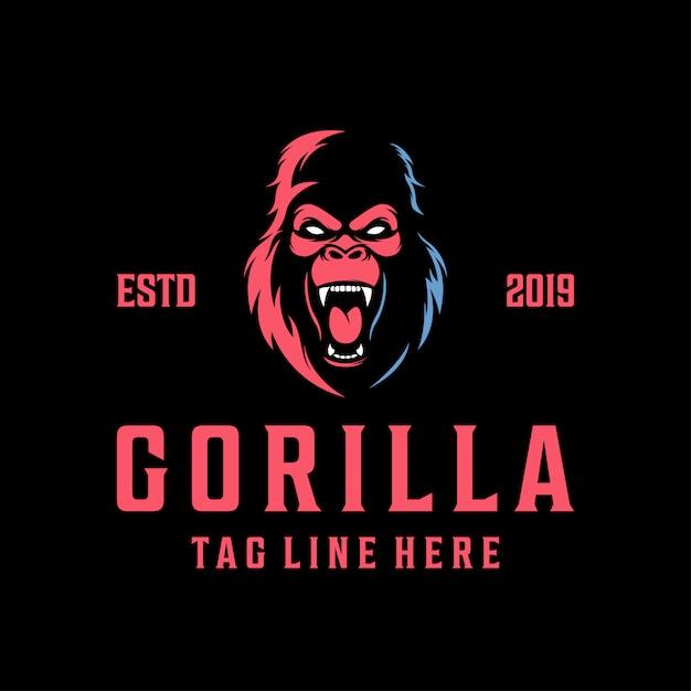 Modern vintage angry gorilla logo Premium Vector