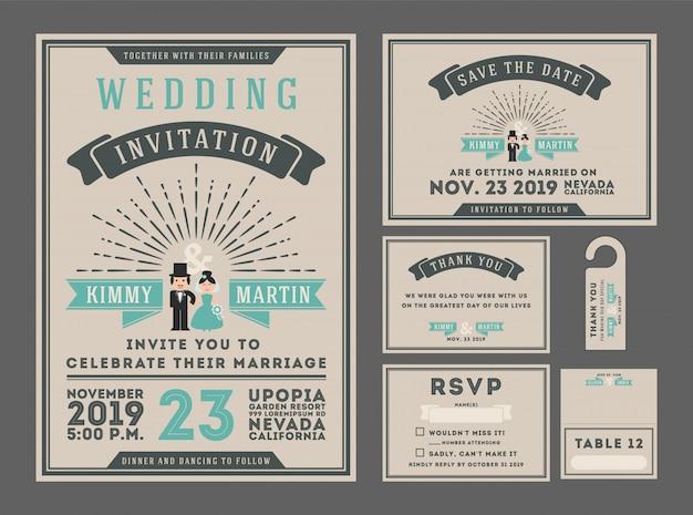 Modern vintage wedding invitation template desgin Vector   Premium ...