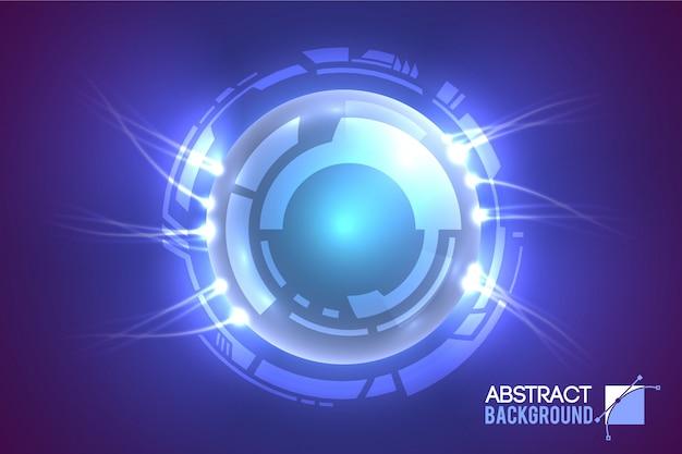 未来的な円に囲まれた発光する目を備えたモダンな仮想インターフェイスの概要 無料ベクター