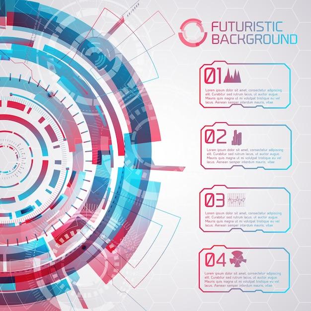 Современный виртуальный технологический фон с круглыми элементами сенсорного интерфейса и четырьмя изолированными кнопками с надписями и декоративными значками Бесплатные векторы