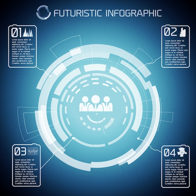 Modern virtual technology background with touch screen circles captions infographic pictograms of people Free Vector