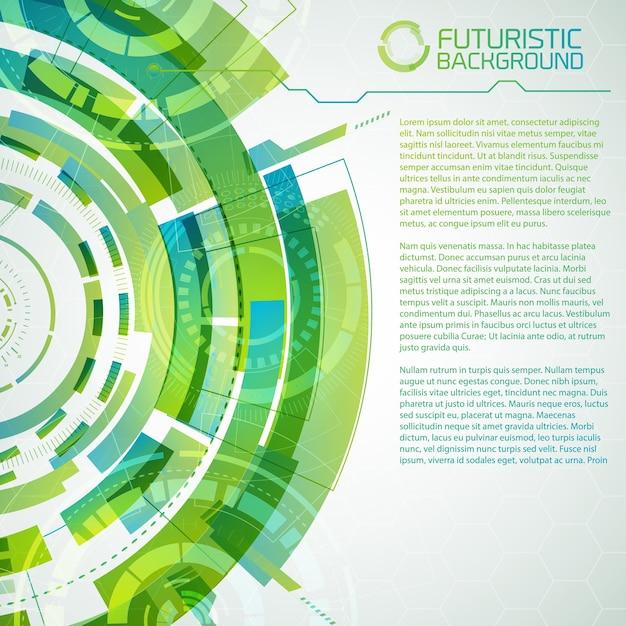 La moderna tecnologia virtuale sfondo concettuale con cerchi futuristici decorativi tocca elementi dell'interfaccia e testo modificabile Vettore gratuito