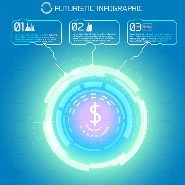Modern virtual technology conceptual background with decorative light circle and dollar sign with rectangular infographic captions Free Vector