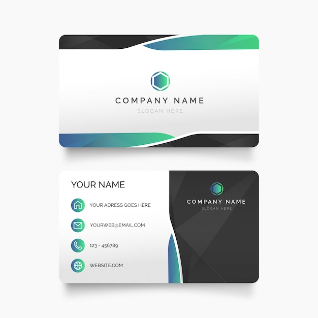 Modern visit card with abstract shapes Free Vector