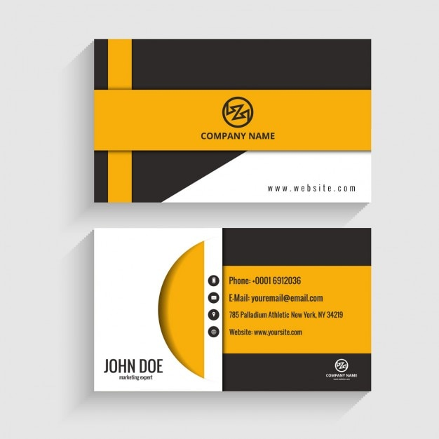 Visiting Cards Modern Visiting Card Black And Yellow Free Vector