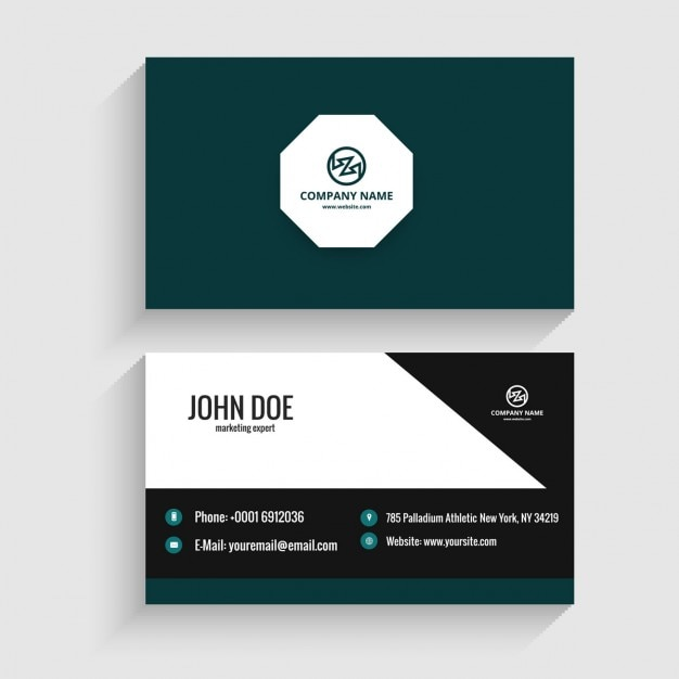 Modern visiting card with octagon Free Vector