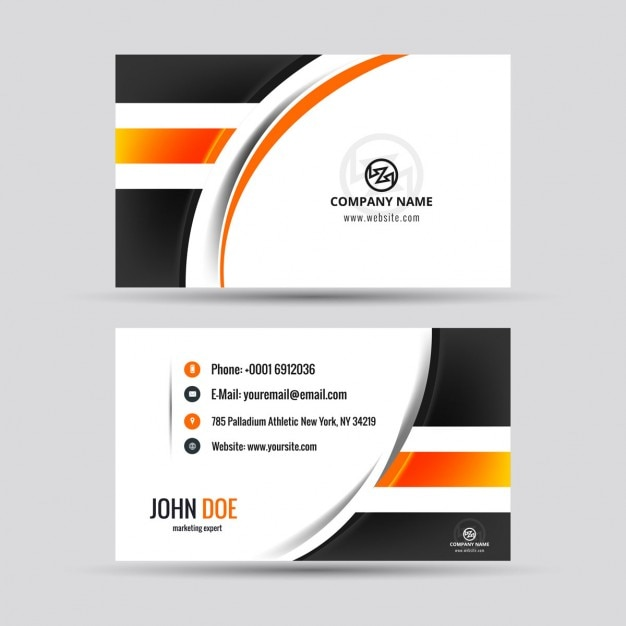 Modern Visiting Card With Orange Details Vector Free Download