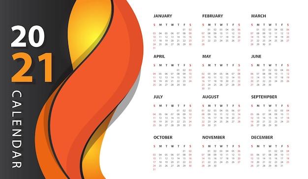 Modern wall calendar 2021 Free Vector