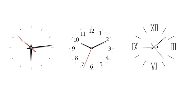 Modern wall clock set with roman and arabic numerals in minimalism style. classic icon with black w