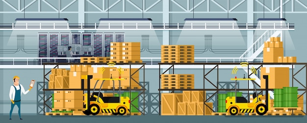 Modern warehouse indoor space with goods on shelf Premium Vector