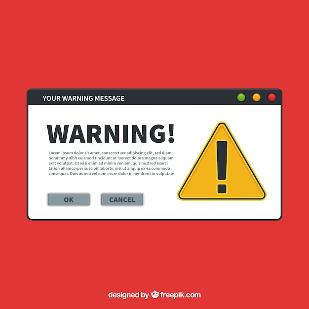 Modern warning pop up with flat design Free Vector