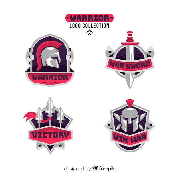 Modern warrior sports logo collection Free Vector