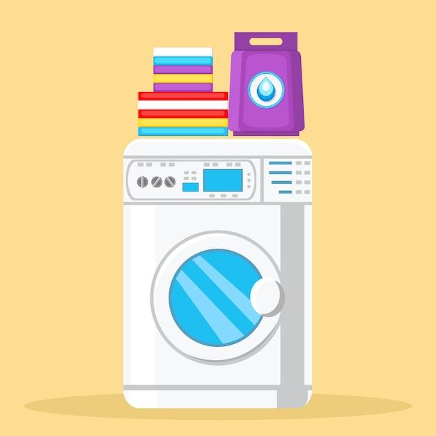 Modern washing machine color vector illustration Premium Vector