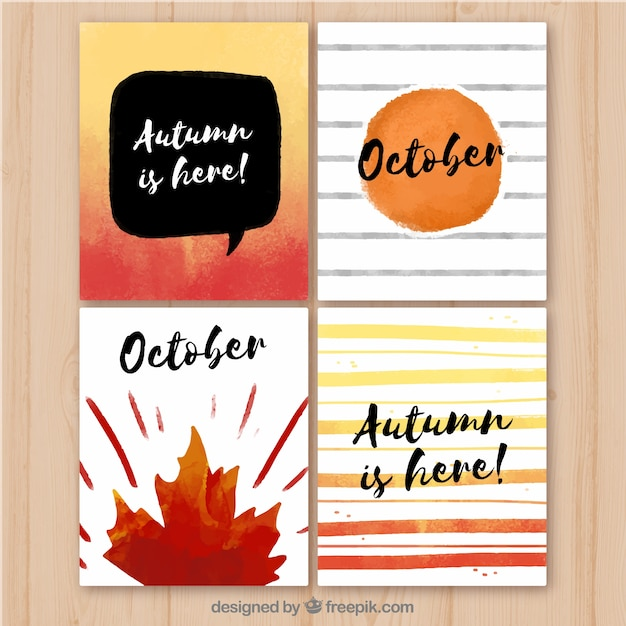 Modern watercolor autumn card collection
