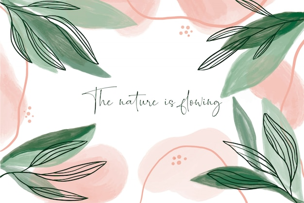 Modern watercolor background with leaves Free Vector