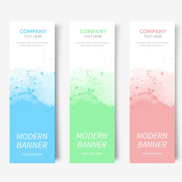 Modern watercolor banner collection Free Vector