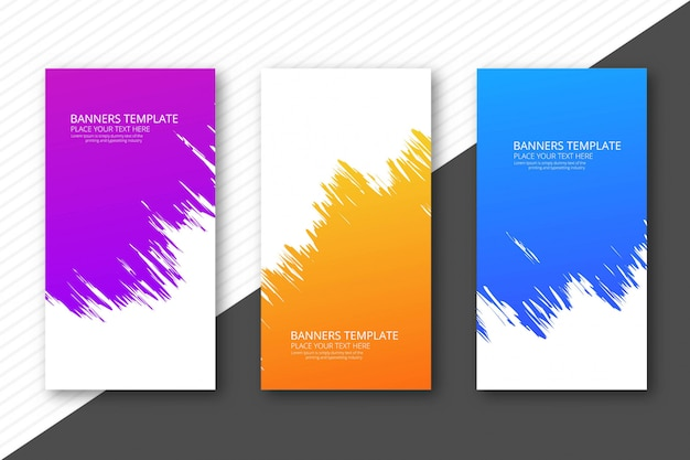 Modern watercolor colorful headers set template design Free Vector