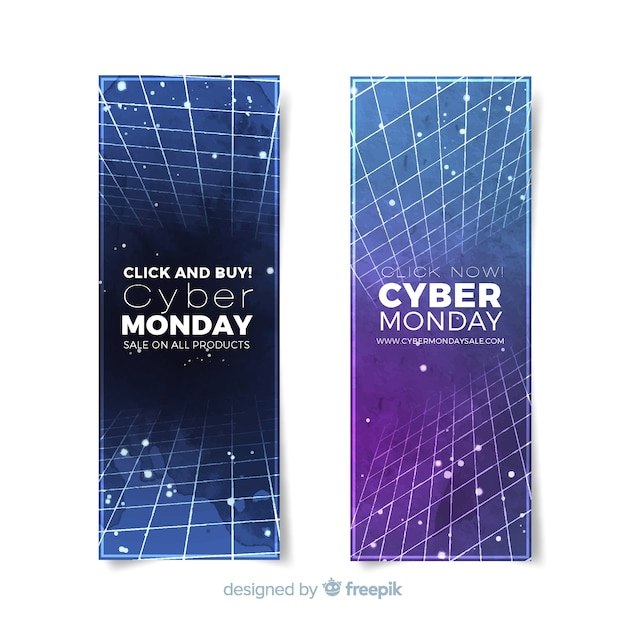 Modern watercolor cyber monday banners Free Vector