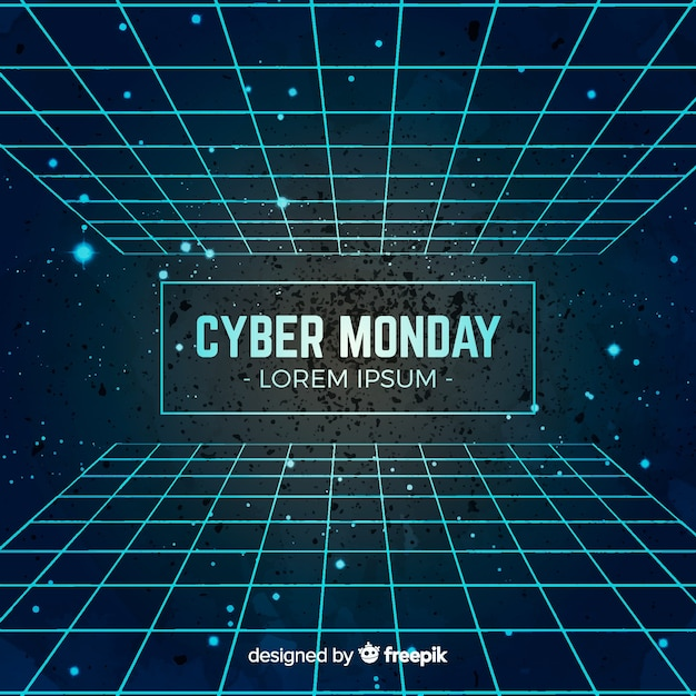 Modern watercolor cyber monday composition Free Vector