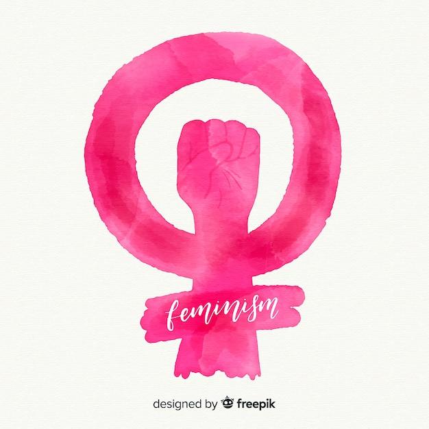 Modern watercolor feminist symbol Free Vector