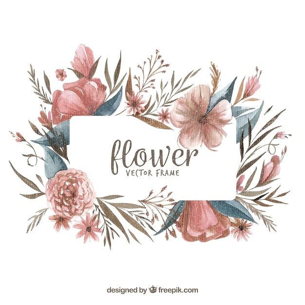 Modern watercolor floral frame Free Vector