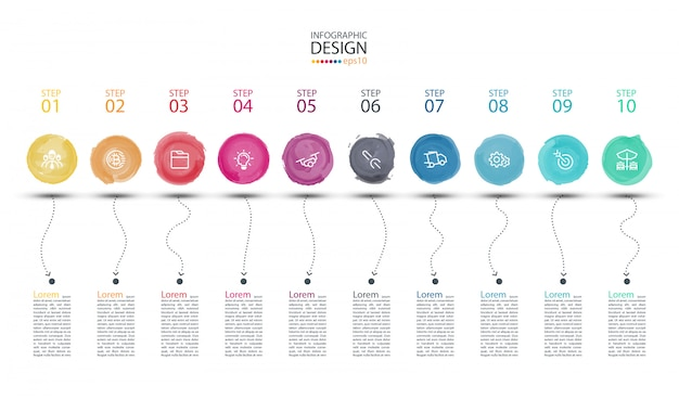 Modern watercolor label infographics art. Premium Vector