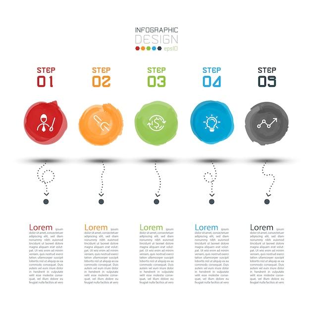 モダンな水彩ラベルインフォグラフィック Premiumベクター