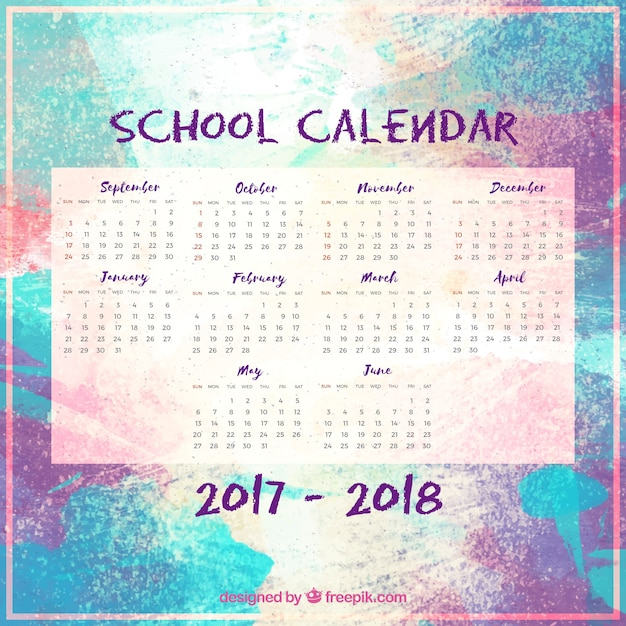 Modern watercolor school calendar with abstract style
