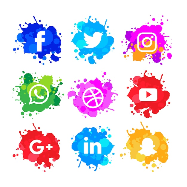Modern watercolor slash social media icons pack Free Vector
