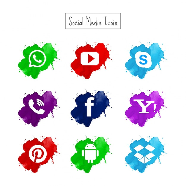 Modern watercolor social media icons set Free Vector