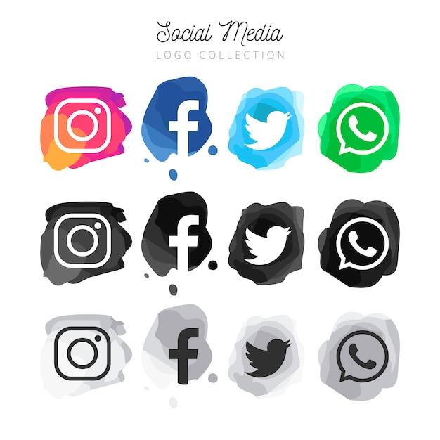 Modern watercolor Social Media logotype collection Free Vector