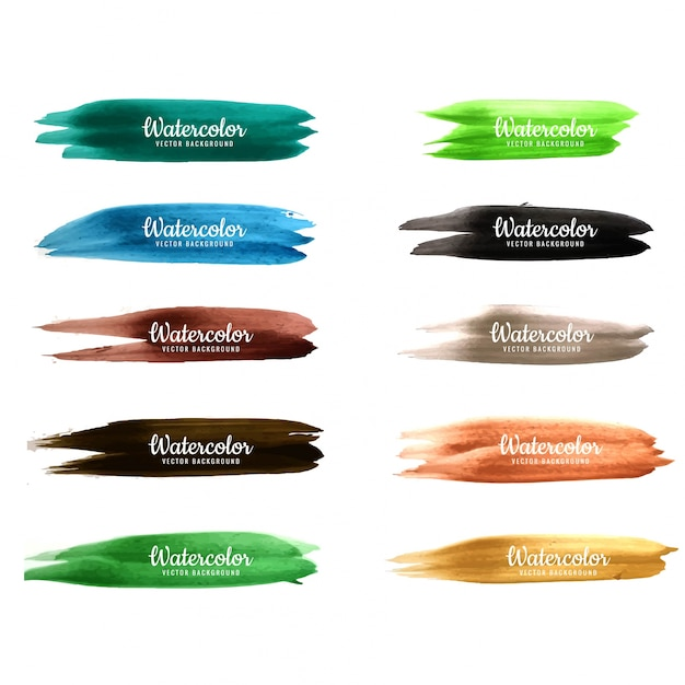 Modern watercolor stroke colorful set design Premium Vector