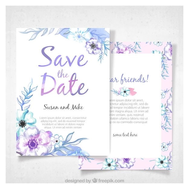 Modern watercolor wedding invitation Free Vector