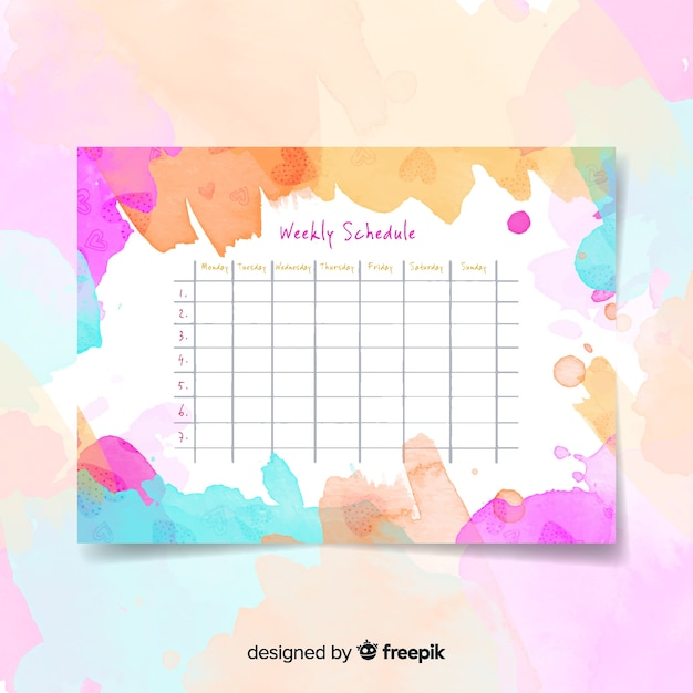 Modern watercolor weekly schedule template Free Vector