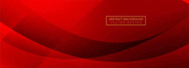 Modern wave banner red background Free Vector